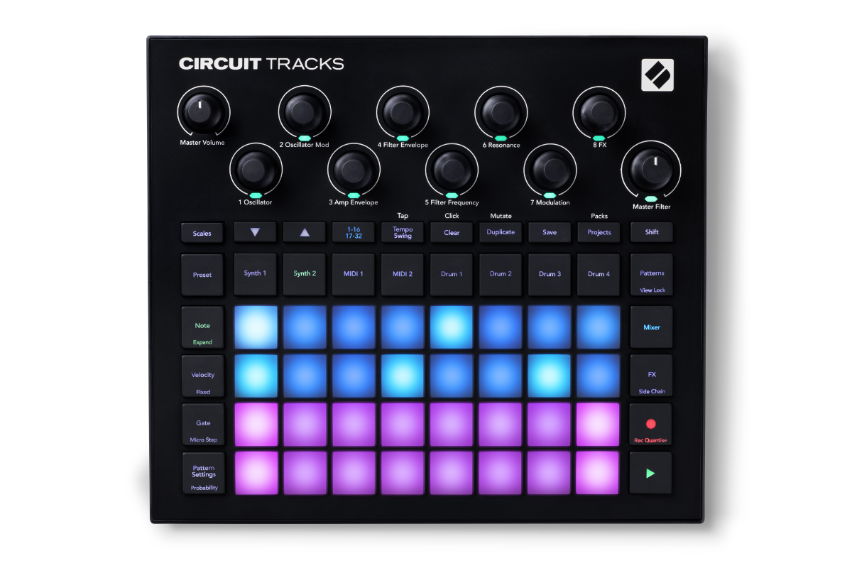 Front panel of the Novation Circuit Tracks