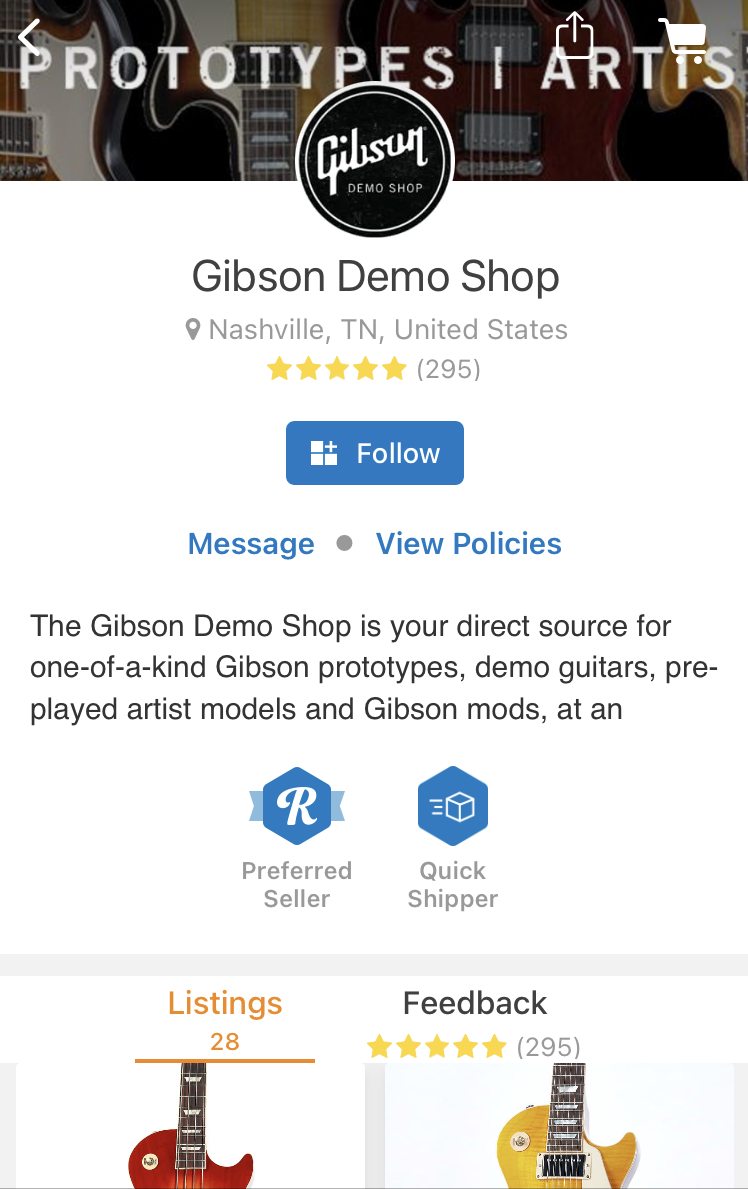 The Gibson Demo Shop page in the Reverb app