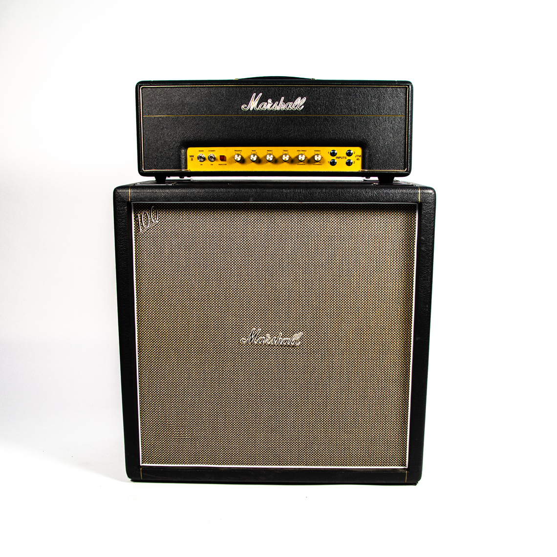 Hoppus' Marshall JTM45 amp head with a 4x12 cabinet