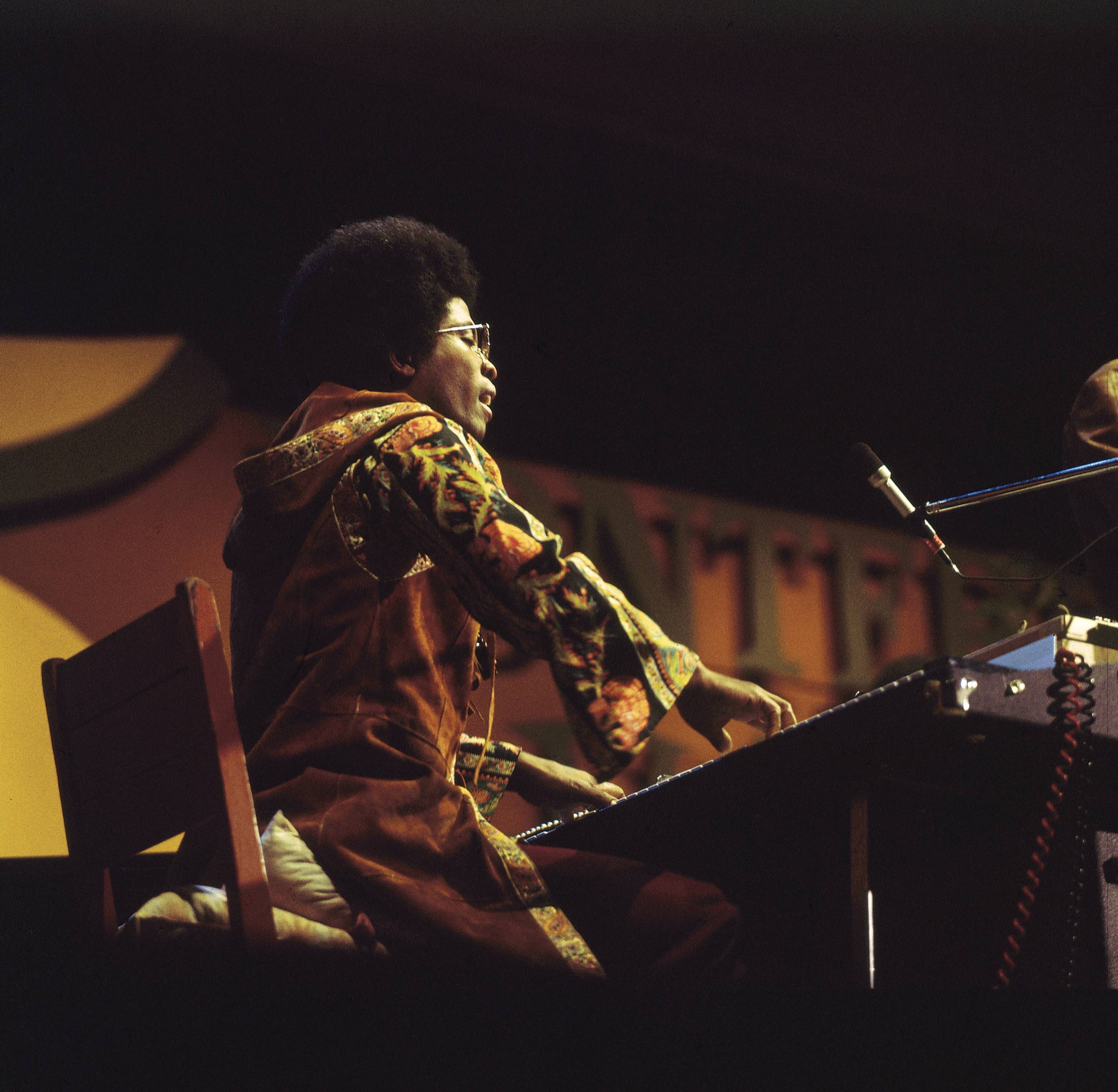 Herbie Hancock onstage at the Monterey Jazz Festival, 1972.