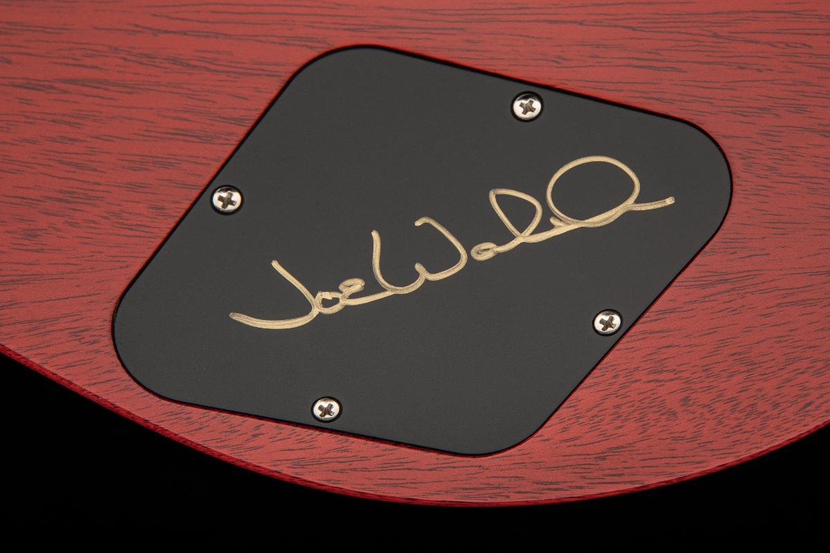 A close-up of Joe Walsh's signature on the backplate.