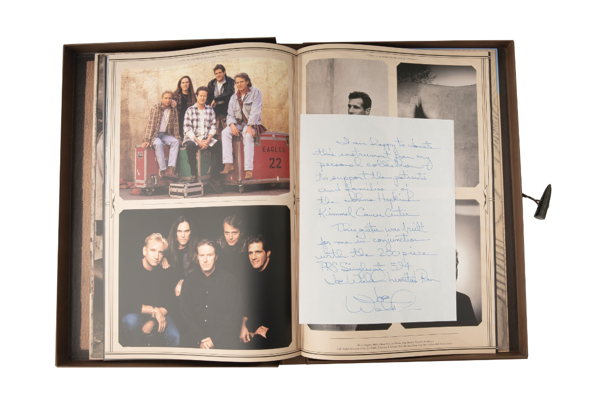 The 'History of The Eagles' boxset and handwritten letter from Walsh.