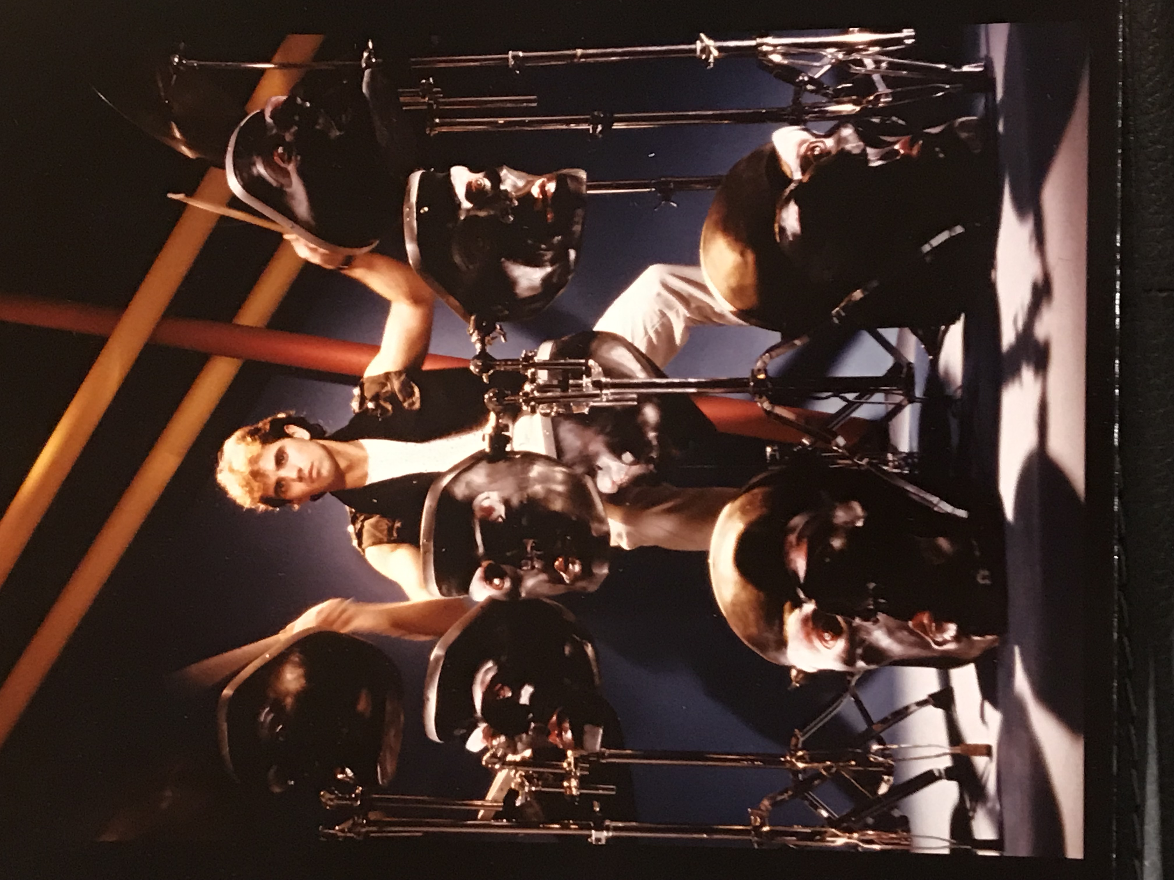 Richard James Burgess playing the creepy head kit. Photo courtesy Burgess.