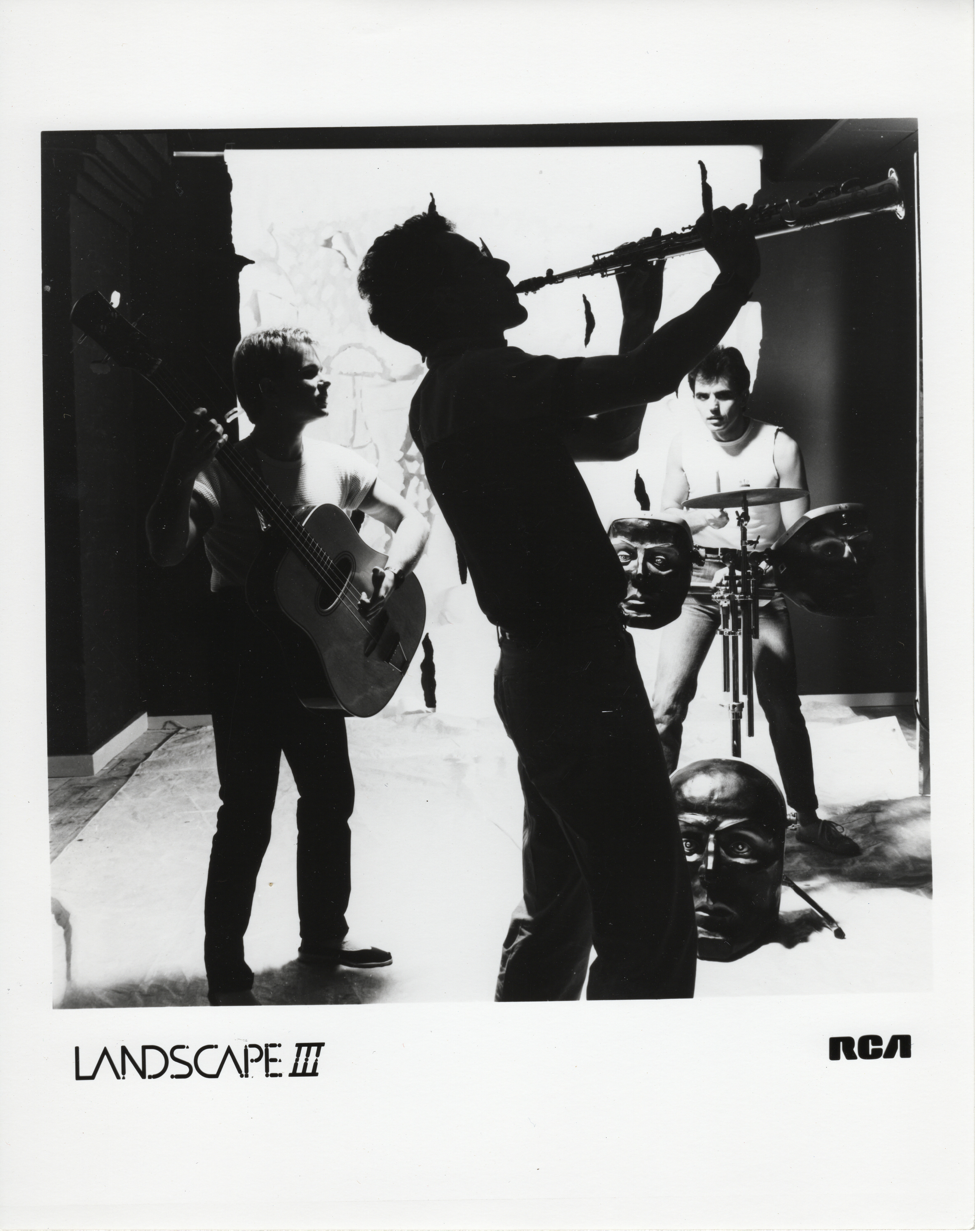 An RCA Records promo shot of Landscape with Burgess playing an SDSV prototype.
