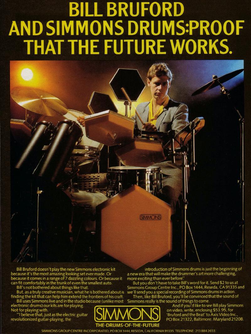 Simmons' Bill Bruford ad.
