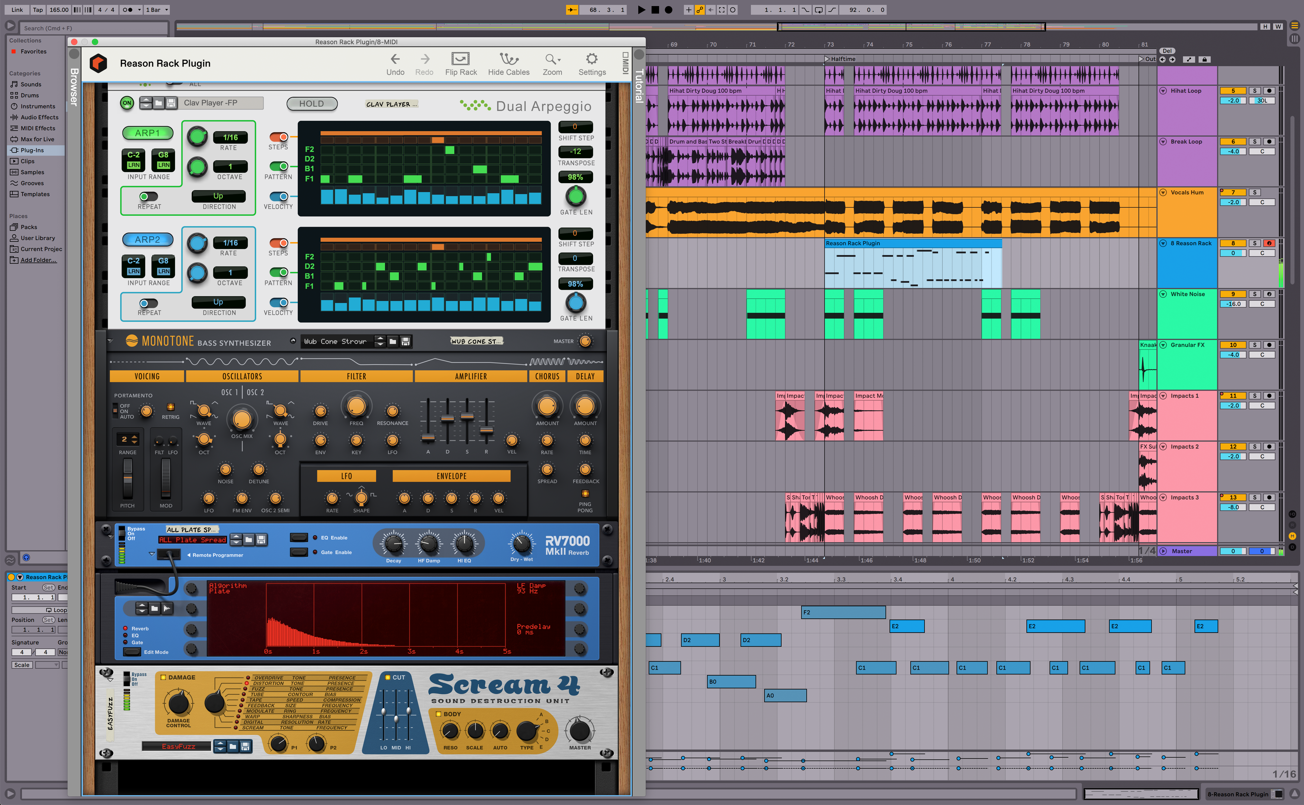 Reason Rack being used as a plugin within Ableton Live