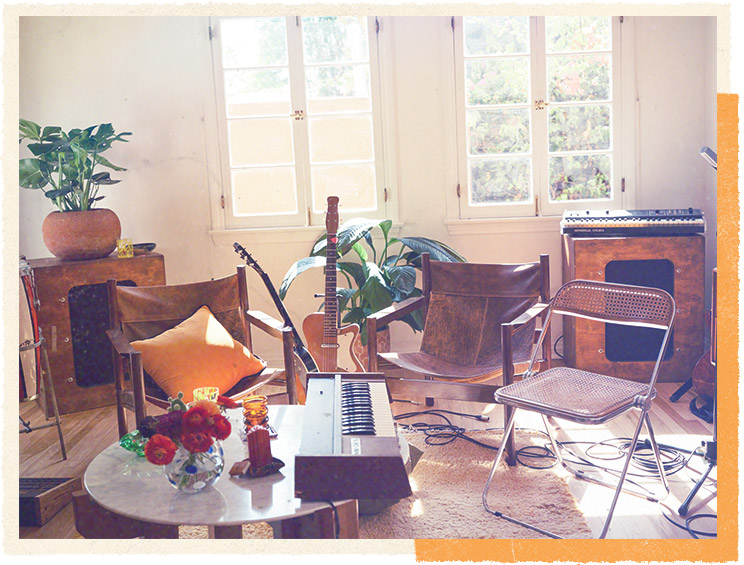 The Altec-Lansing 604Es flank the room, with Korg MicroKORG, Silvertone U-1, and other instruments.