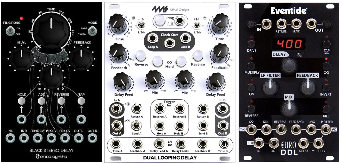 A selection of delay modules from Erica Synths, 4ms, and Eventide