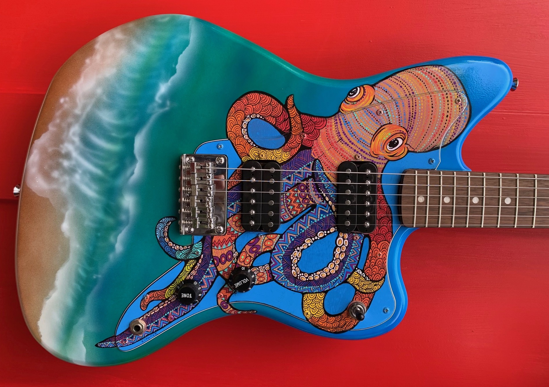 Custom Guitar Jazzmaster offset, Hand Painted Ocean with Octopus and Sea Turtle