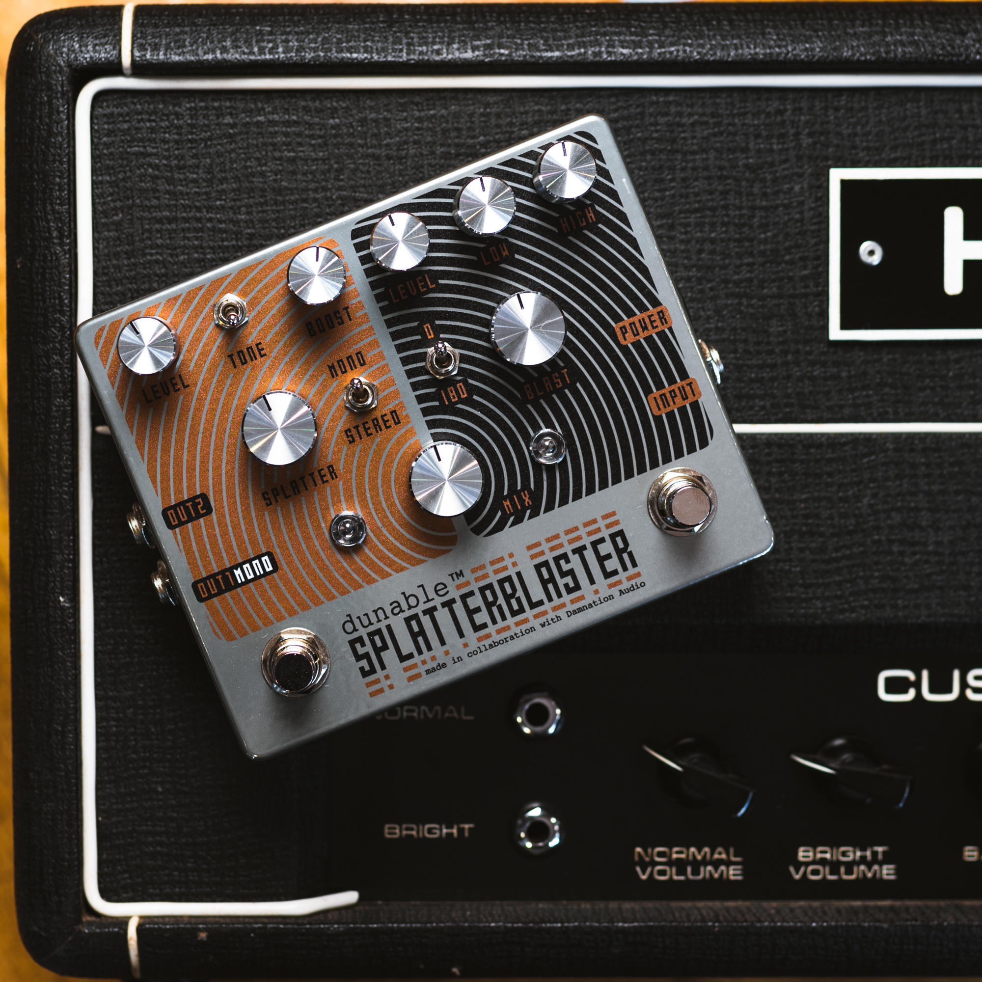 Made For Chicago Music Exchange Dunable Splatter Blaster Guitar Distortion Circuit On Wiring Options The Side Is Based A Classic Superfuzz With An Added Boost And Blast Ornery Not Unlike Pedal