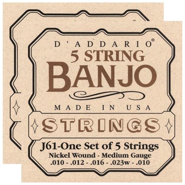 10-23 D/'Addario J61 5-String Banjo Strings Medium Nickel
