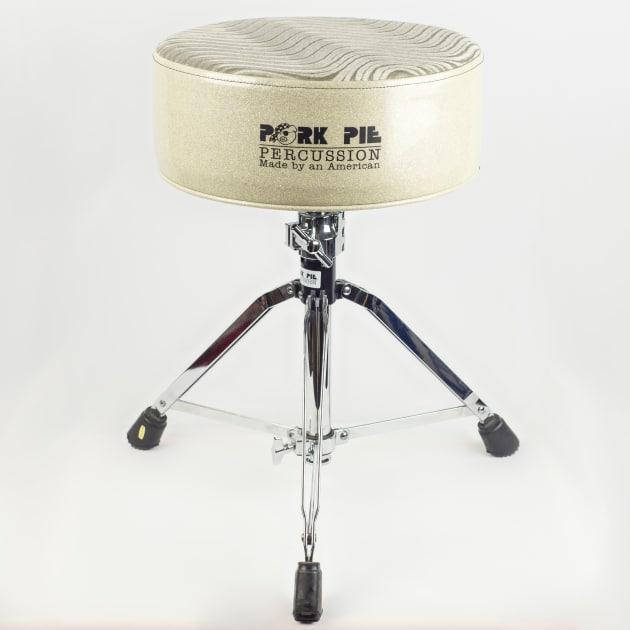pork pie round drum throne white sparkle white swirl top. Black Bedroom Furniture Sets. Home Design Ideas