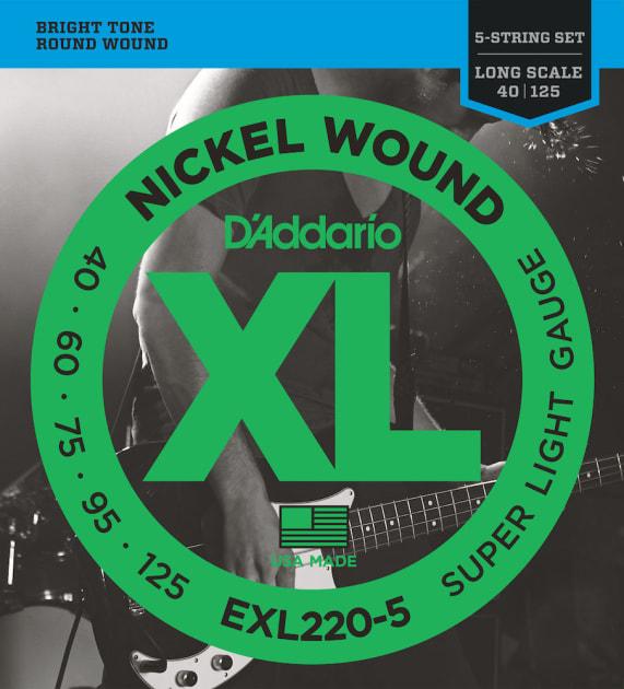 D/'Addario NYXL45130 L//Scale Bass Guitar Strings Regular Light 5-String 45-130