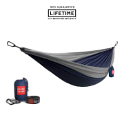 Grand Trunk Double Parachute Nylon Hammock with Straps Navy/Silver
