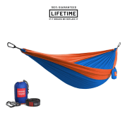 Grand Trunk Double Parachute Nylon Hammock with Straps Blue/Orange