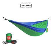 Grand Trunk Double Parachute Nylon Hammock with Straps Lime Green/Blue