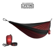 Grand Trunk Double Deluxe Parachute Nylon Hammock with Straps Crimson/Charcoal