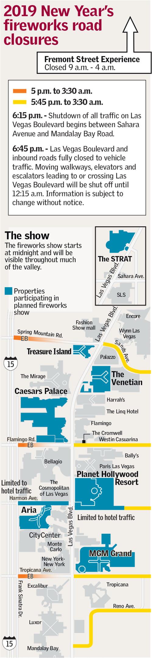 New Year's Eve road closures Las Vegas (Metropolitan Police Department/Las Vegas Review-Journal)