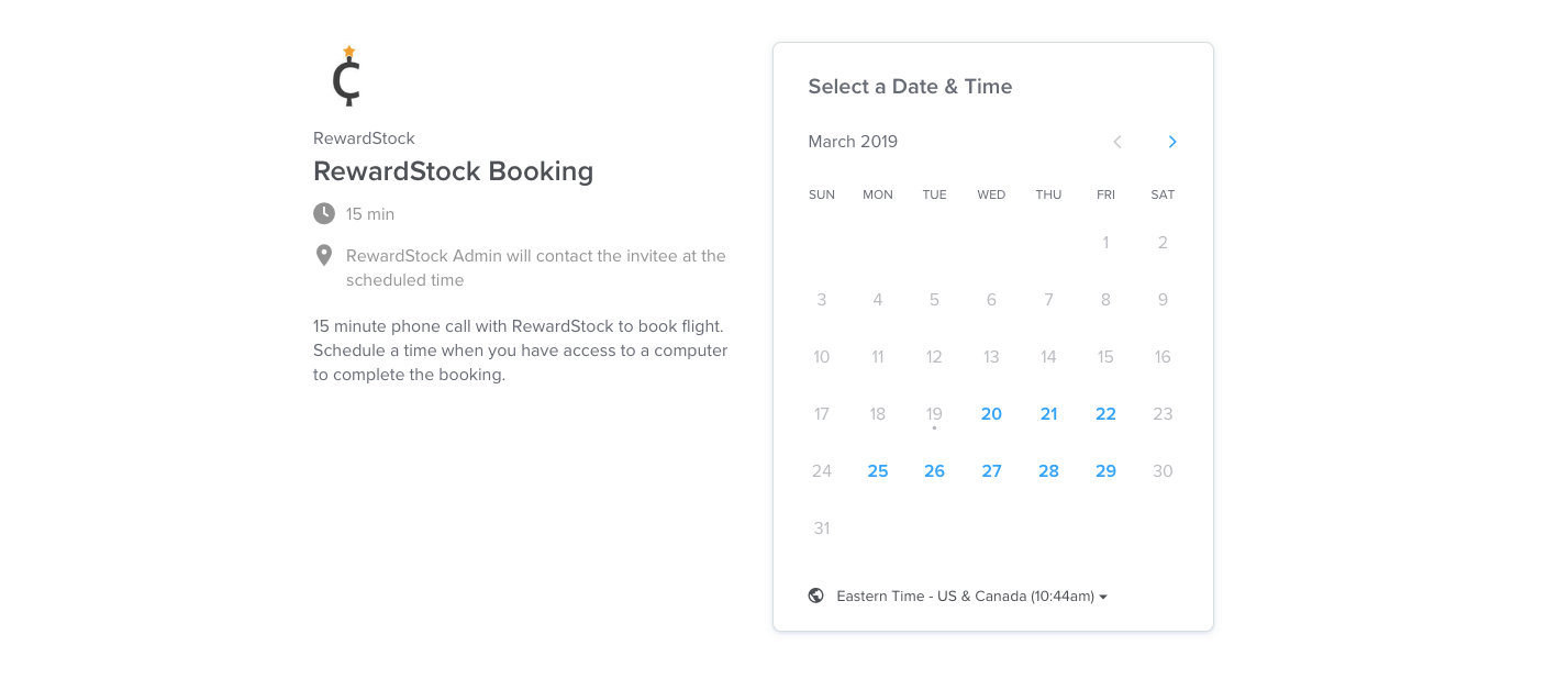 Step 5B to hotel booking on RewardStock is to select a time on Calendly