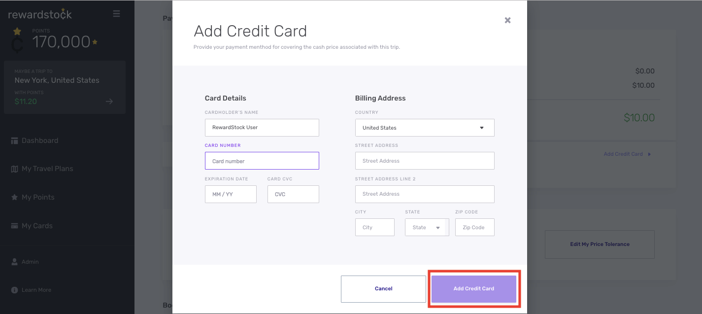 Step 4B for hotel booking on Rewardstock is to add your credit card