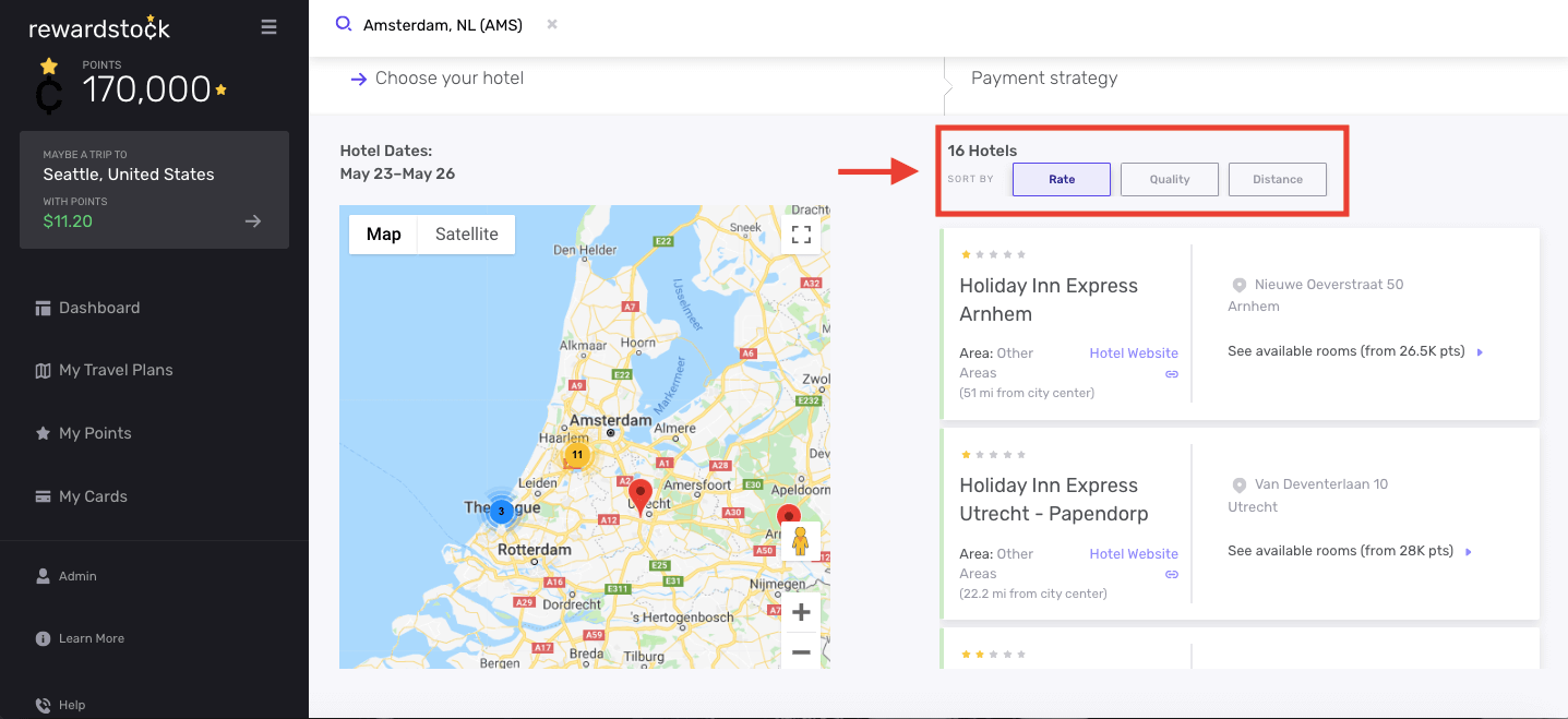 Step 1B for navigating your hotel search results on RewardStock is to sort hotels by rate, quality and distance from city center
