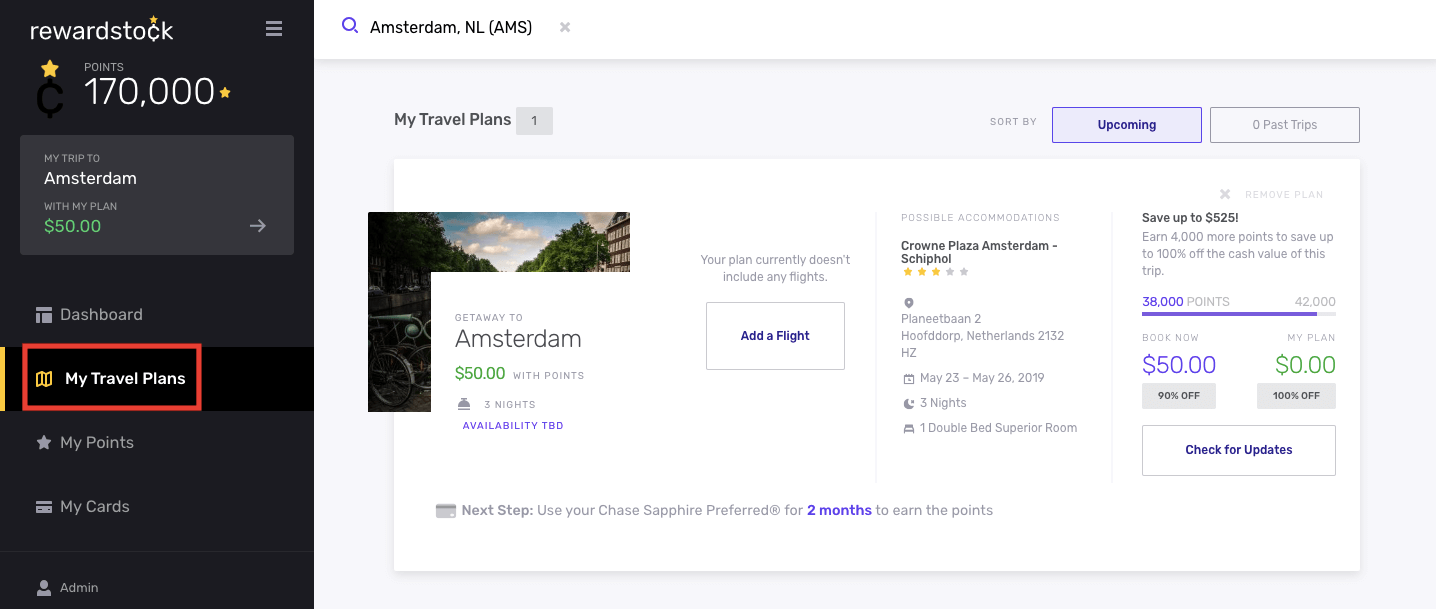 Step 5B for navigating your hotel search results with RewardStock is to go to My Travel Plans