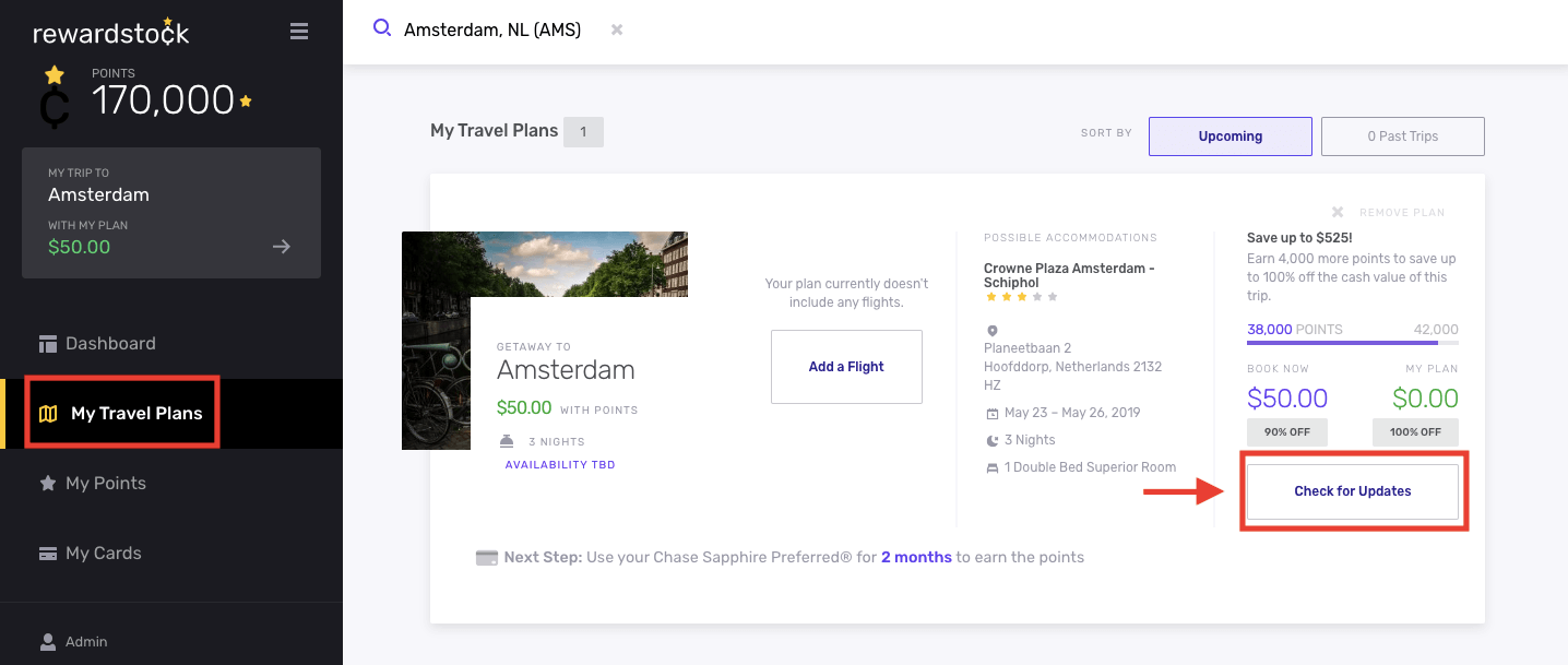 Step 5D for navigating your hotel search results on RewardStock is to check for updates with your travel plan