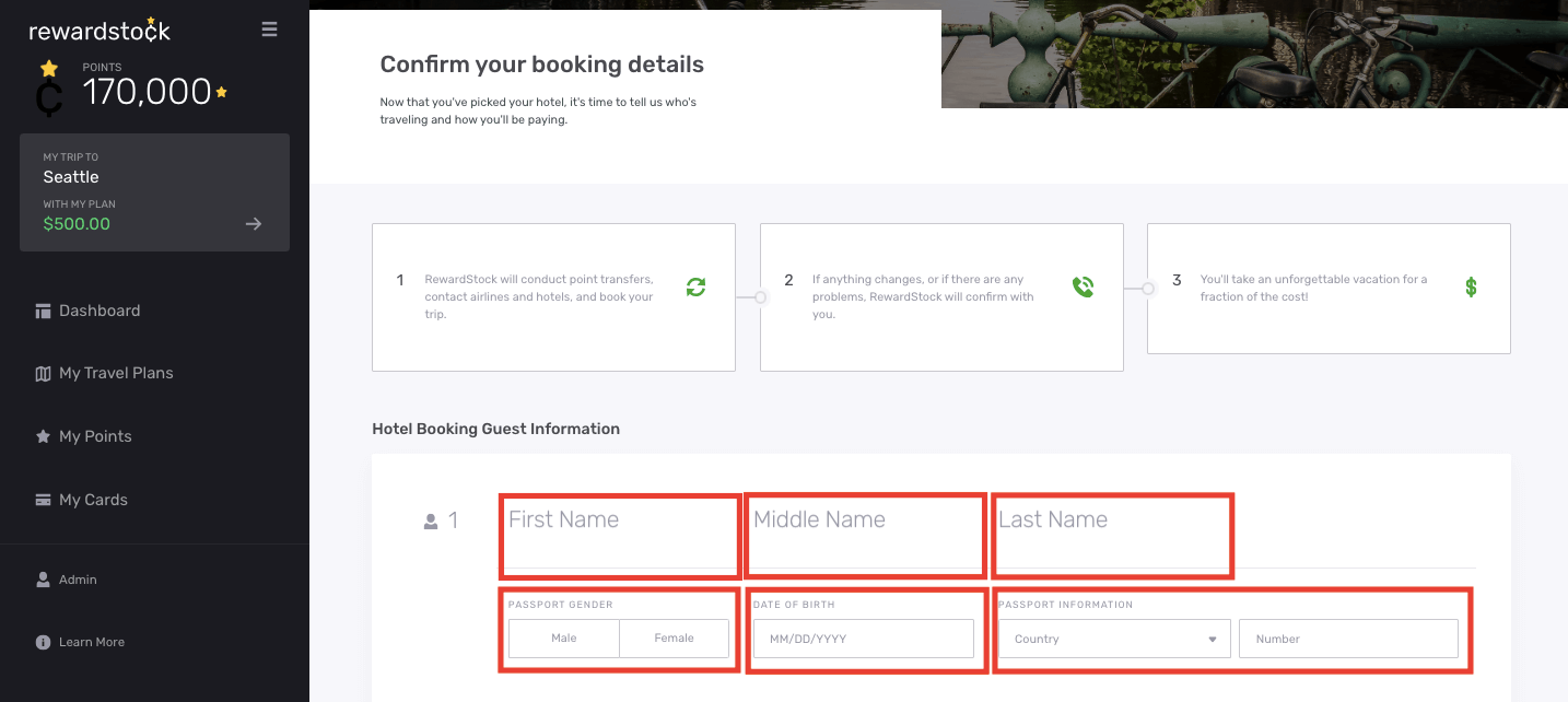 Step 2 to hotel booking on RewardStock is complete hotel booking guest information