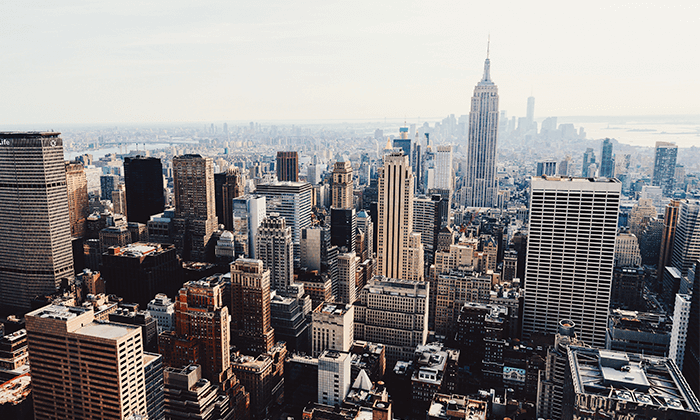 Tied for third, New York, New York is the third trending destination.