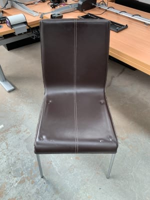 Leather Chair on Chrome Frame - minor repairs needed - see photo