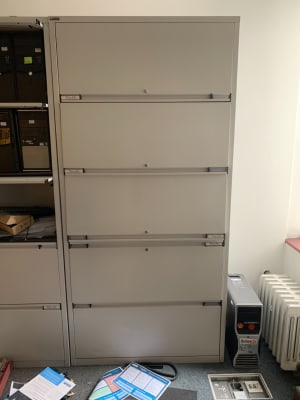 Two drawer 3 shelf metal cabinet