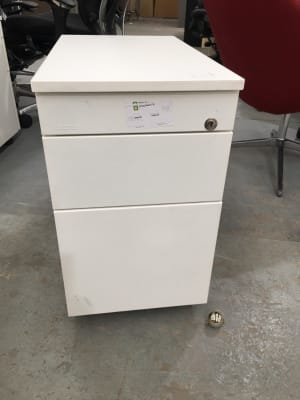 White metal slimline Pedestal with wooden top