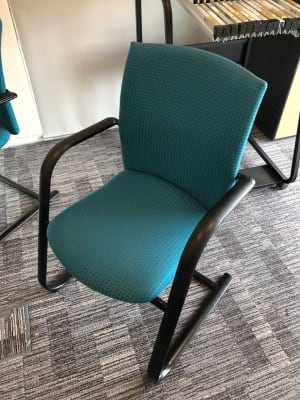 Haworth Comforto Meeting Conference Chair Stackable Teal Green