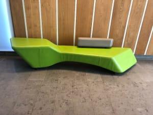 Green Leather Heavy Duty Reception sofa