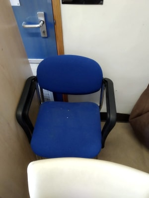 blue padded fabric armchairs with black frame