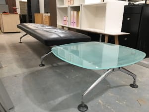 Vintage Vitra black leather sofa with fitted glass table