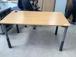 Wooden top desk with grey pillar legs