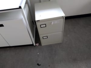 grey 2 drawer metal filling cabinet
