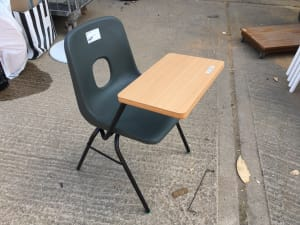 Chair with attached desk