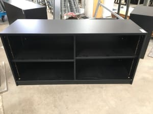 Black wooden cabinet with shelves