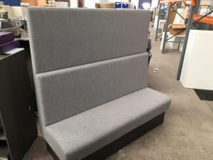 Single sided booth style seating grey sofa