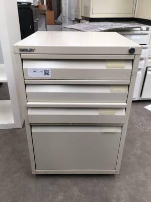 Metal White Cream Pedestal under desk storage