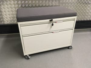 Herman Miller filing caddy cabinet with soft cushion seat