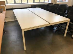 Bank of 4 white desks 120cm Tops