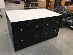 Cabinet with built in recycling bin