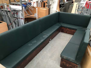 Leather banquette seating with table