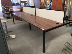 Walnut bench desk - bank of 4 with dividers