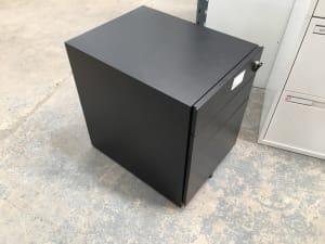 3  Black metal storage pedestal
