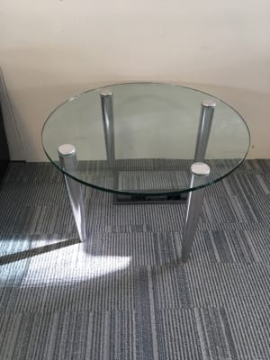 Allermuir round glass coffee table