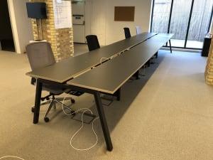 Bank bench of 10 desks - 100cm tops - charcoal